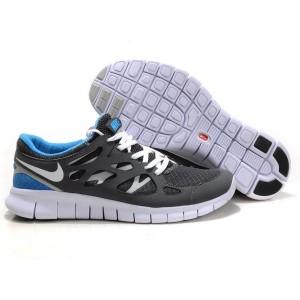 newest ab130 6fc86 Nike Free Run+ 2 Chaussures de Course Pied Pour Homme Noir Blanc Bleu