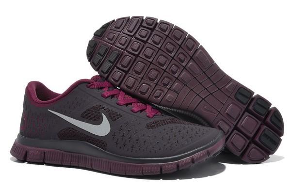low priced e21b2 8c08c Nike Free 4.0 V2 Chaussures de Course Pied pour Femme Gris Foncé Brun Foncé