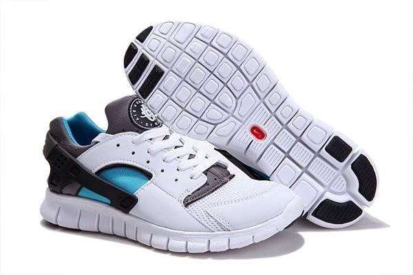 Nike Huarache Free 2012 Chaussures de Training Pour HommeBlanc/Bleu Clair/Gris  Foncé