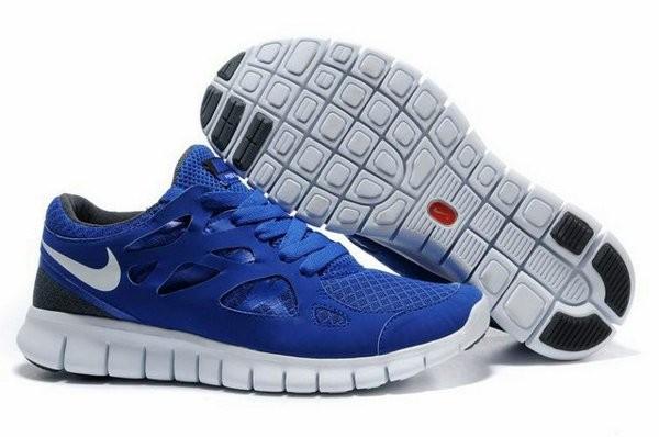 buy online 09e6f 8fd04 Nike Free Run+ 2 Chaussures de Course Pied Pour Homme Bleu Foncé Noir Blanc