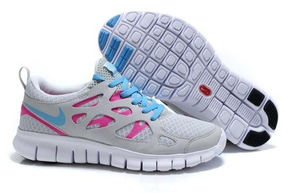 sale retailer d903a e74ac Nike Free Run+ 2 Chaussures de Course Pied Pour Homme Gris Bleu Clair Rose