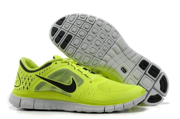 innovative design ad86f 536a7 Nike Free Run+ 3 Chaussures de Course Pied Pour Homme Vert jaune Noir Blanc