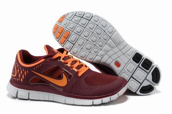 the latest 73fb9 01b2e Nike Free Run+ 3 Chaussures de Course Pied Pour Homme Rouge Foncé Orange  Blanc