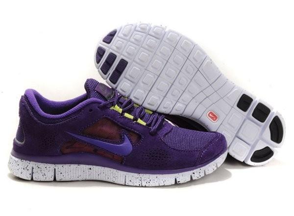 super popular e070e d6b5d Nike Free Run+ 3 Chaussures de Course Pied Pour Homme Violet Foncé Blanc